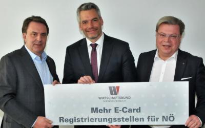 WBNÖ-Ecker/Servus: Einrichtung zusätzlicher E-Card-Registrierungsstellen für NÖ. Dank an BM Nehammer.